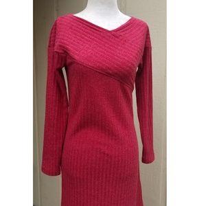 eShakti Ribbed Knit Sweater Maxi Dress Red Custom